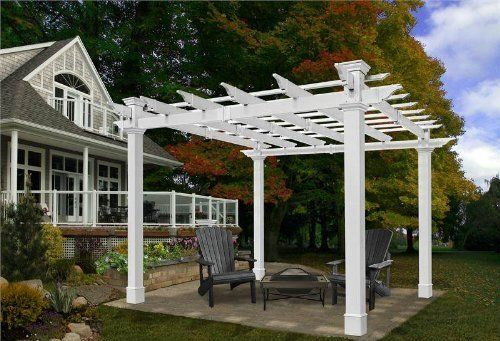 10x10 Mandalay Vinyl Pergola By Ultralast 1215 99 Just Like The Mirage Pergola But The 8x8 Mandalay Comes With Nic Vinyl Pergola New England Arbors Pergola