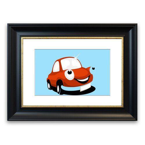 Gerahmter Grafikdruck Lächelndes, sauberes Auto in Hellblau East Urban Home Größe: 50 cm H x 70 cm B, Rahmenart: Schwarz #cleaningcars