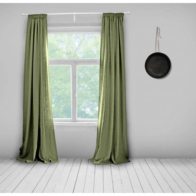 Bespoke Curtains Olive Green Lined Made To Measure Linen Plain