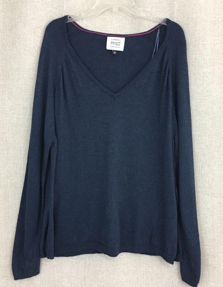 Cotton On Pull Over Sweater Merino Blend Blue V-Neck Long Sleeve ...