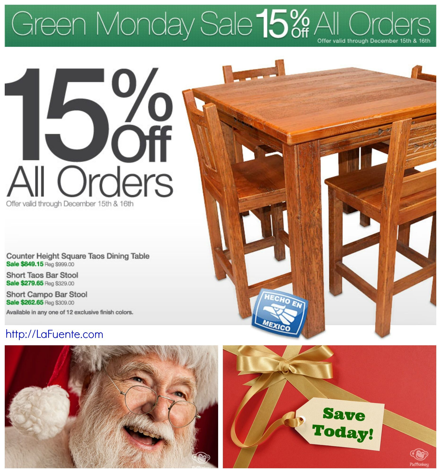 Save 15 off everything in our store happy green monday from http rustic pine furnituremondays