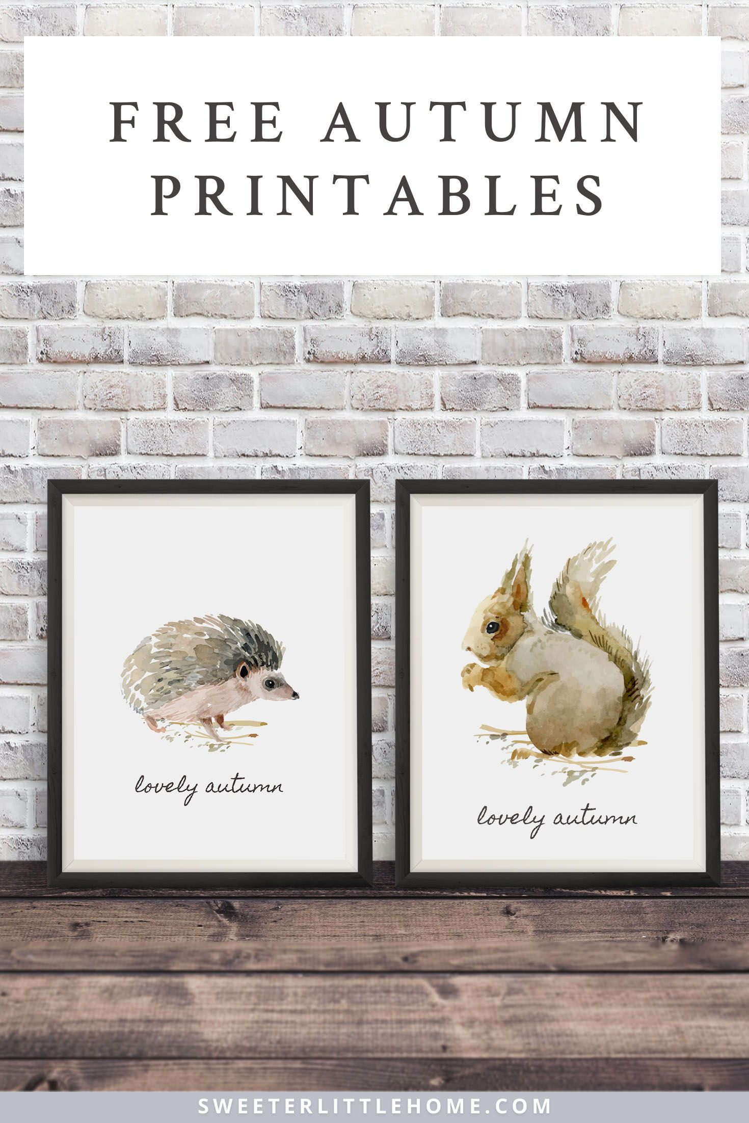 Free Printable Watercolour Fall Animals Wall Art Printable Wall