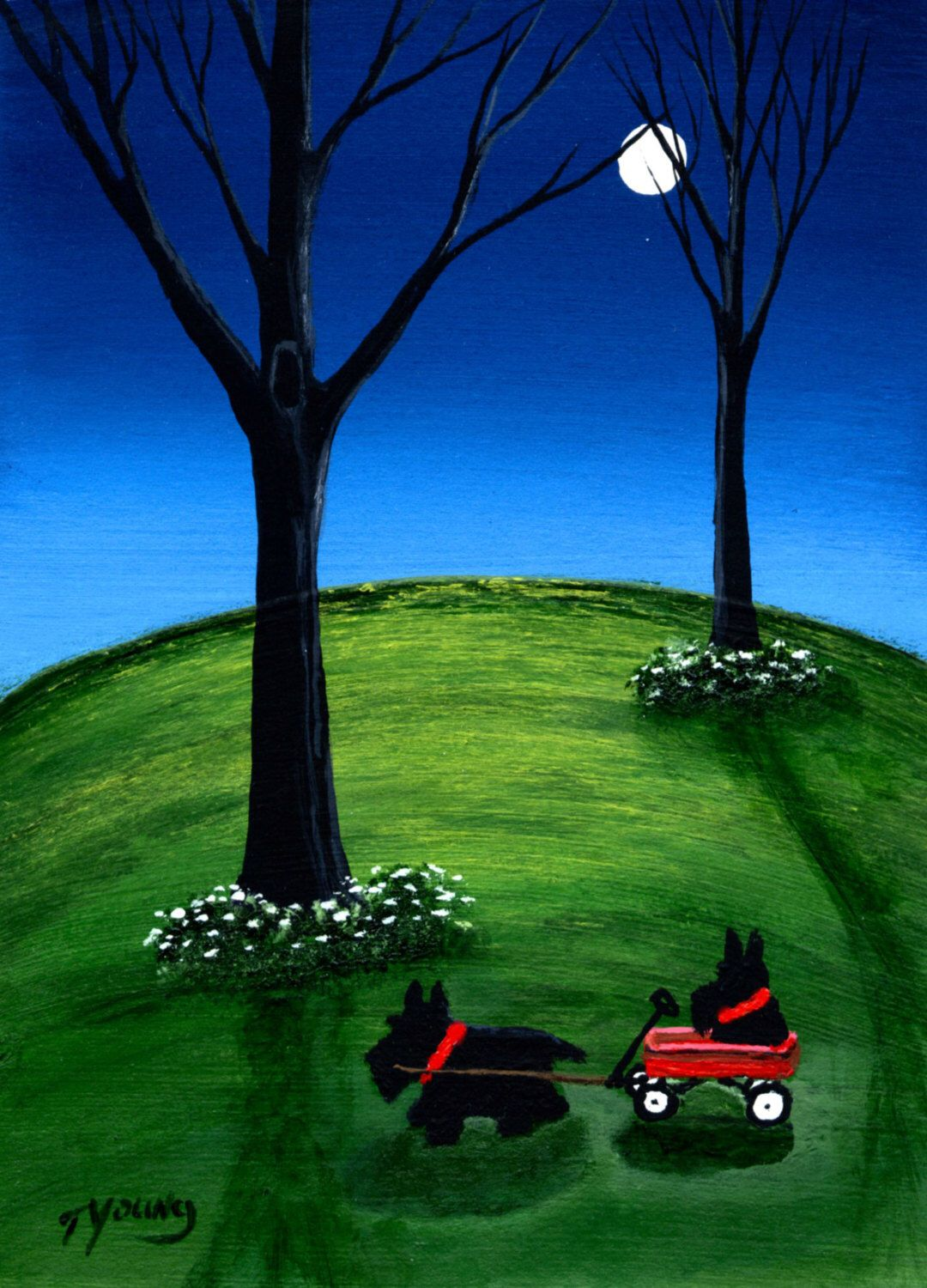 Scottie Dog folk art PRINT of Todd Young painting Off We Go Again by ToddYoungArt on Etsy https://www.etsy.com/listing/197279173/scottie-dog-folk-art-print-of-todd-young