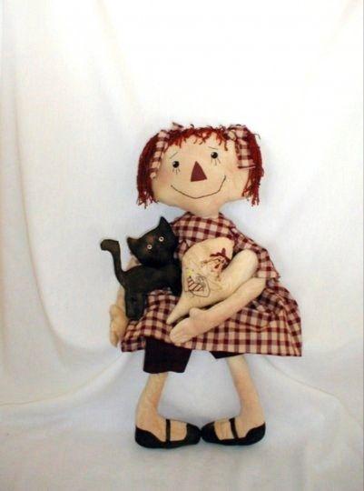 Primitive Raggedy Doll e pattern by Skunkhollow on Etsy, $9.00