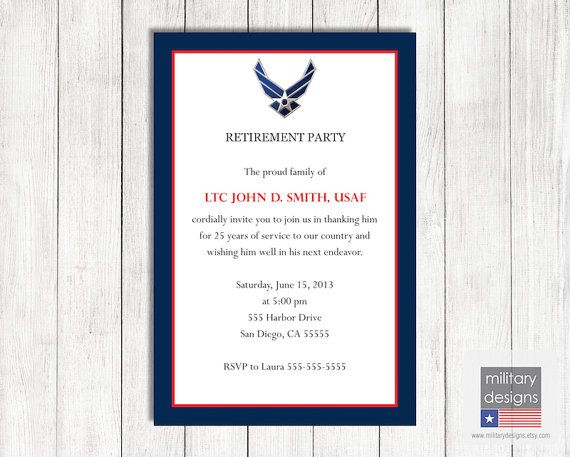Air Force Retirement Party Invitation Military By Militarydesigns