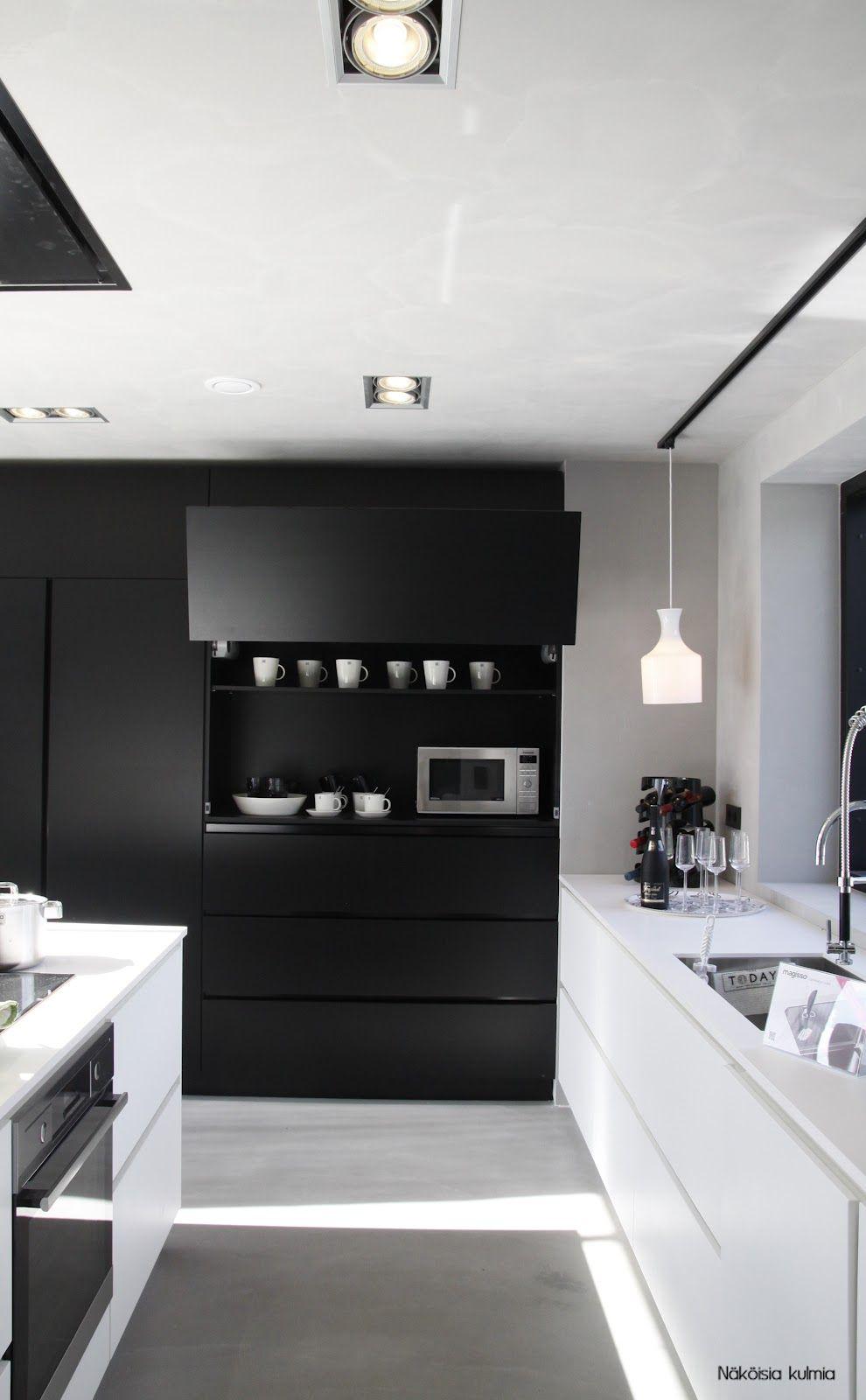 Cuisine Decoration Noir Et Blanc Sol Gris Clair Cuisines Design Cuisine Moderne