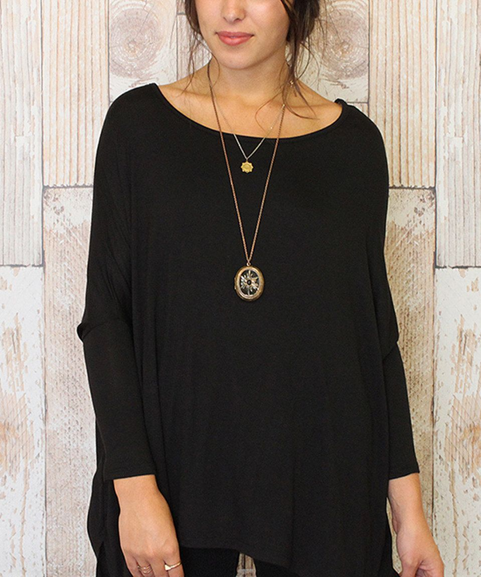 Another great find on #zulily! Caralase Black Boatneck Sidetail Tunic by Caralase #zulilyfinds