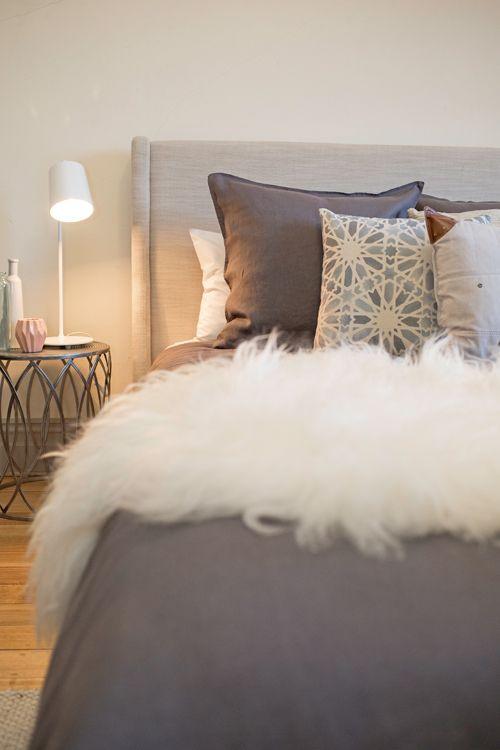 Master Bedroom Charcoal Linen Mongolian Sheep Skin Brown Fabric