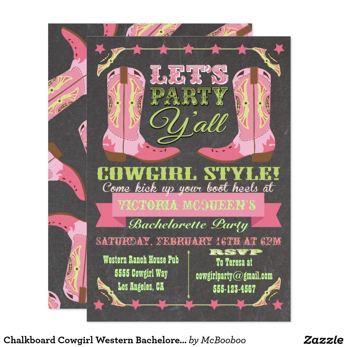 Chalkboard Cowgirl Western Bachelorette Party Card | Bachelorette ...