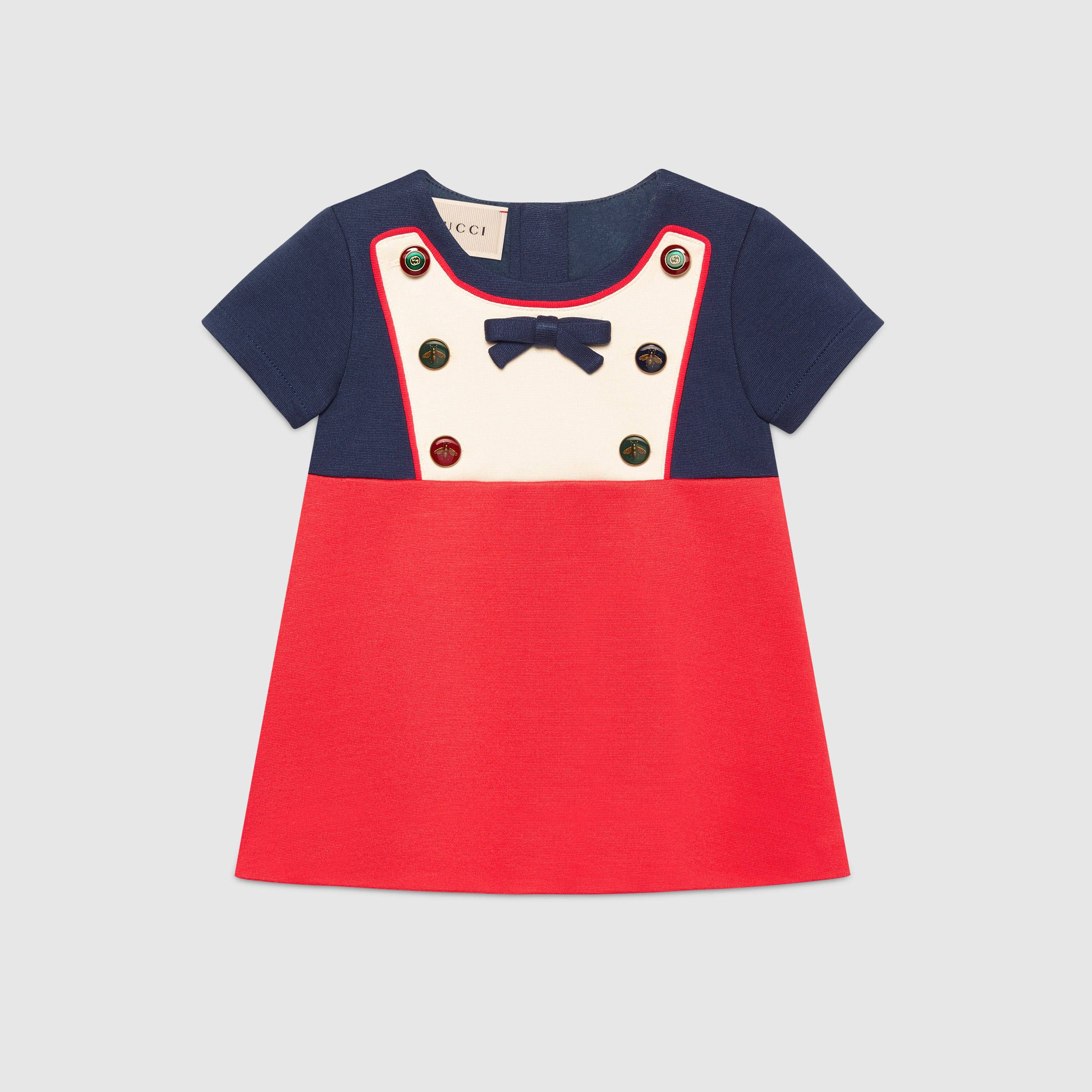 Baby jersey dress with mixed buttons Baby Girl Lewin