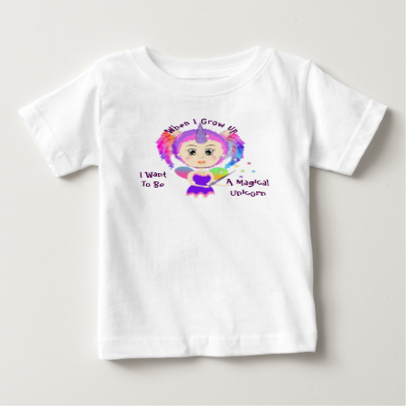 """Cute kids tee shirt top for all those little girls who adore Unicorns """"When I grow up I Want To Be A Magical Unicorn"""". Such a fun picture of a fantasy Unicorn fairy in rainbow colors."""