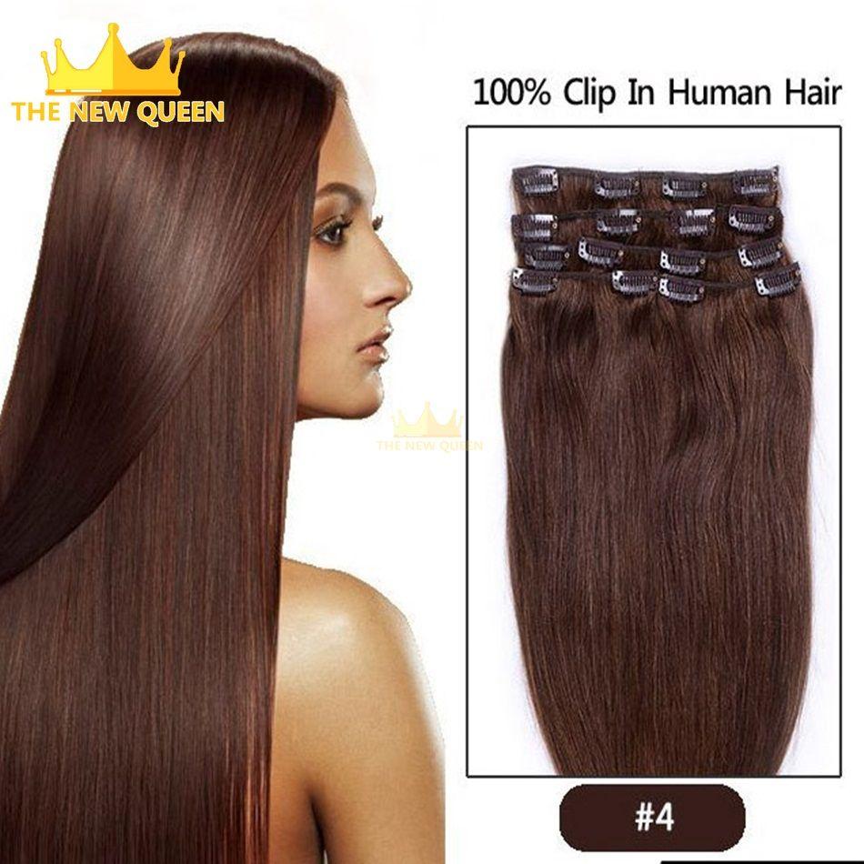 4 Chocolate Brown 100 Brazilian Virgin Hair Clip In Hair Extension