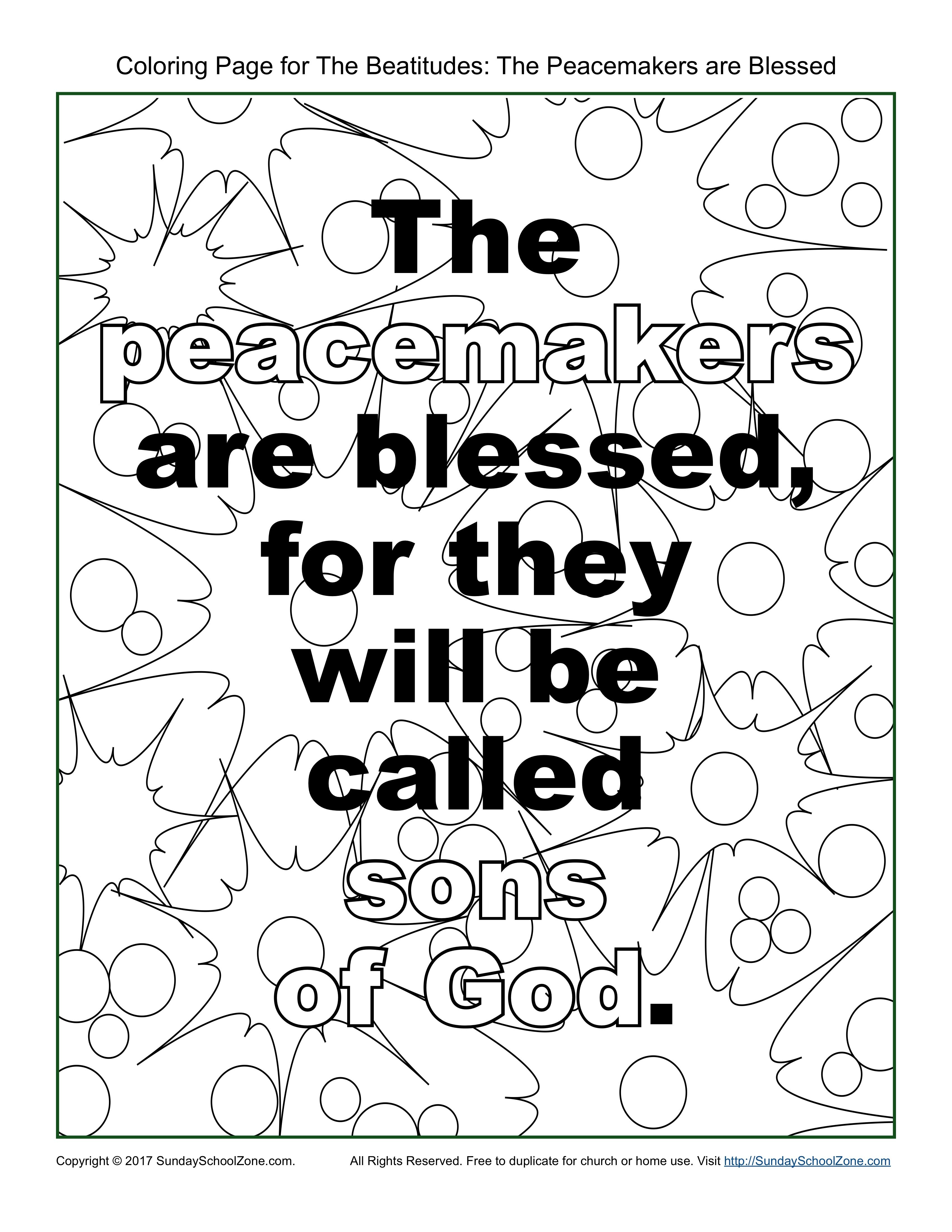 Peacemakers Beatitudes Coloring Page On Sunday School