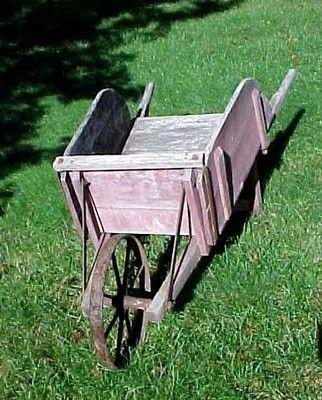 Antique Full Size Wooden Wheelbarrow Great Yard Decor Ebay Wheelbarrow Wooden Wheelbarrow Wheelbarrow Decor