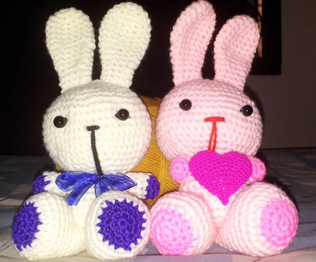 "Two adorable bunny 13"" tall As per request from customer. #crochet #handmade #kraftangan #amigurumi #crochetmalaysia #mynameishandmade #patung #kait #sayajual #jombazar #murahonline #kualalumpur #malaysia #singapore #sabah #sarawak by cutedollcrochet"