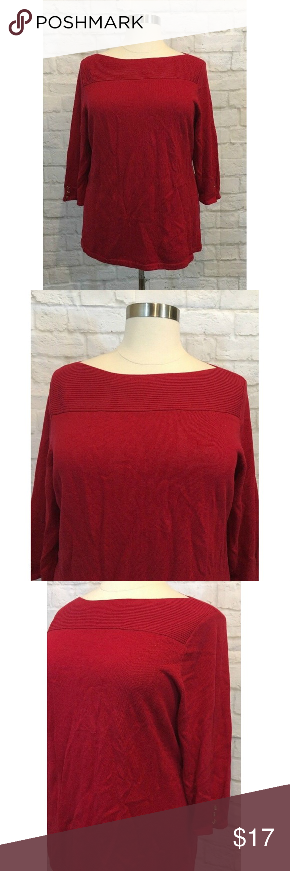 0bc7dfb12651b Karen Scott Womens Boat Neck Sweater Red Size 2X Karen Scott Plus Size 2X  Sweater Red Ballerina Boat Neck 3 4 Sleeve Cotton Karen Scott Ballerina Boat  Neck ...