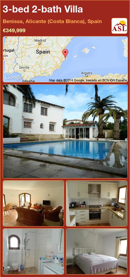 3-bed 2-bath Villa in Benissa, Alicante (Costa Blanca), Spain ►€349,999 #PropertyForSaleInSpain