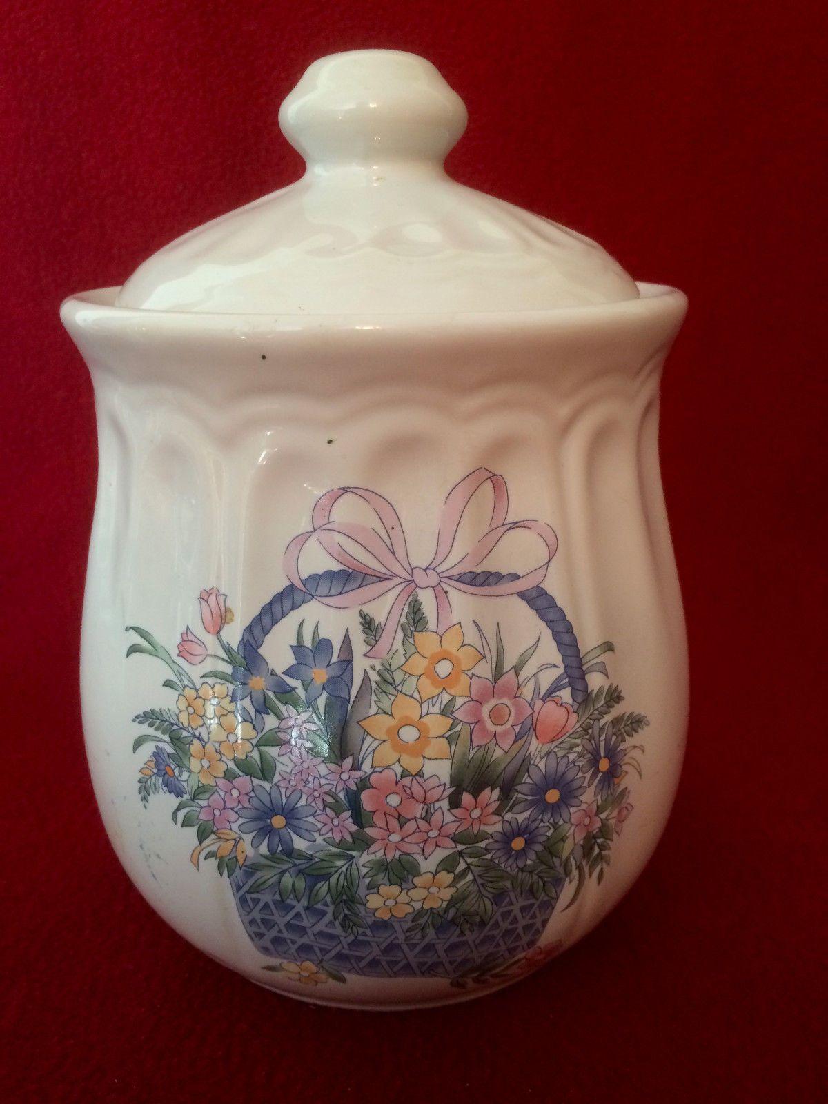Flower Basket Cookie Jar Canister | eBay