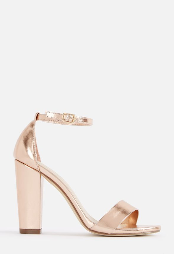JustFab Makemba Heeled Sandal Womens Metallic regular Size