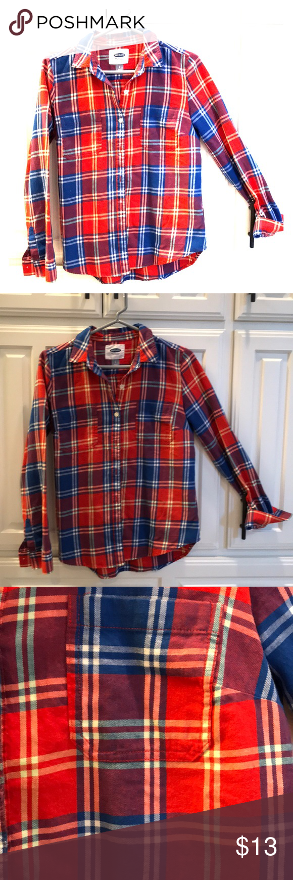 Flannel shirt knot  Orange and blue button down shirt Super cute and soft orange and