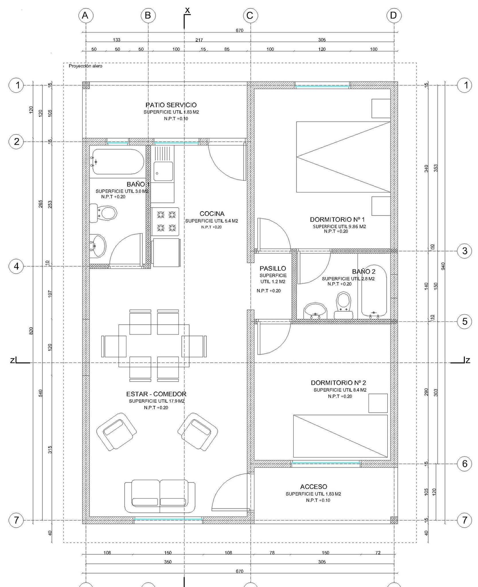 Preview plano de casa completo con medidas 55 m2 1 piso 2 for Planos de casas con medidas