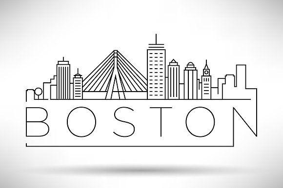 20 Usa Cities Linear Skyline Skyline Drawing Boston Skyline City Drawing