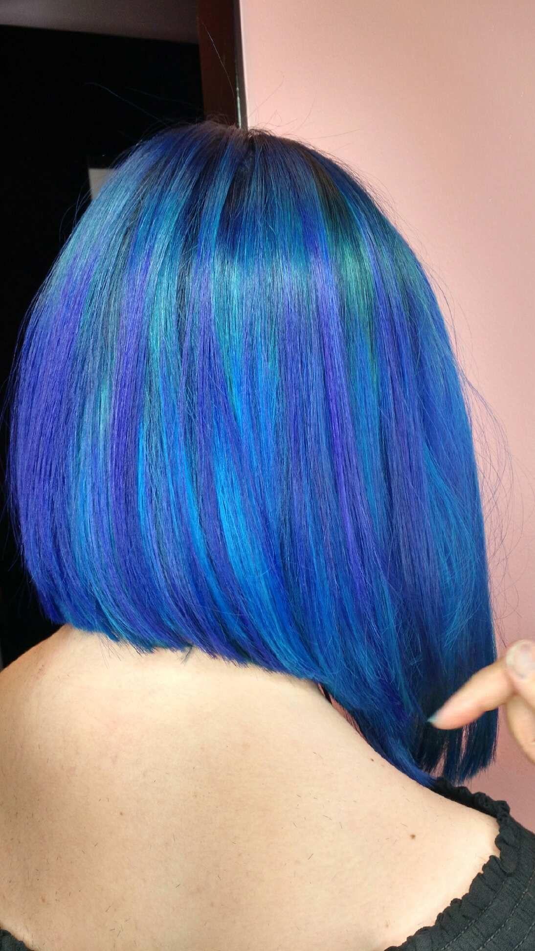 Neon blue melt Long hair styles, Hair styles, Hair