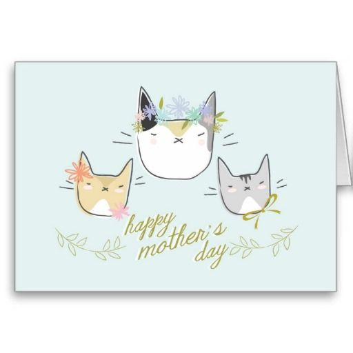 Happy Mother S Day Mother Cat Kittens Card Zazzle Com Cute Mothers Day Gifts Happy Mothers Day Happy Mothers