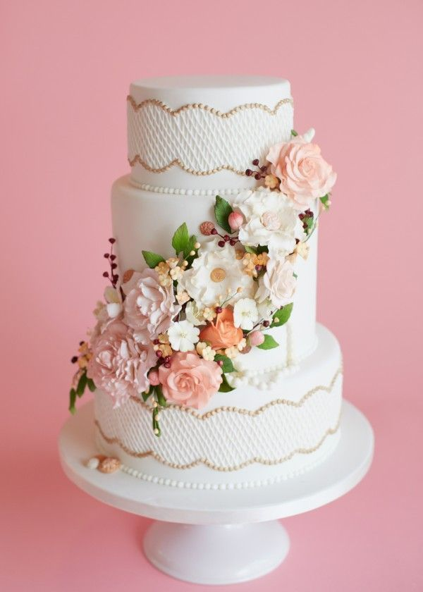 With beautiful lattice work edged in gold, vintage buttons, and the most delicate handmade sugar flowers, this cake is the perfect accent to an elegant wedding. Description from pinterest.com. I searched for this on bing.com/images