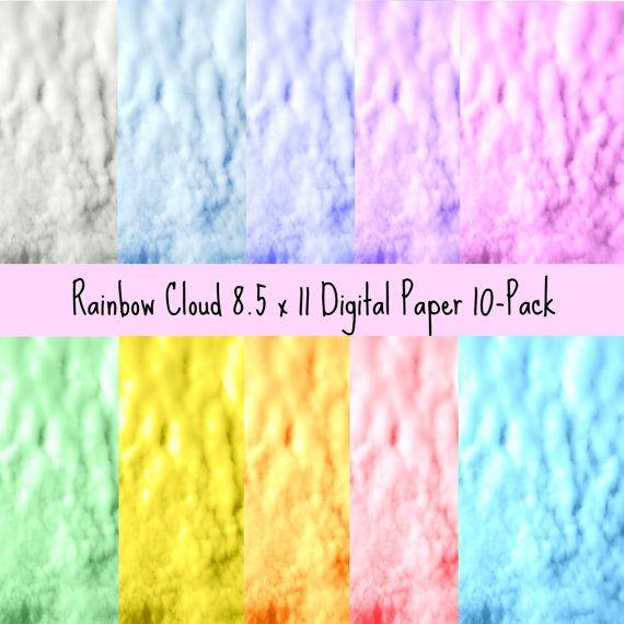 Rainbow Colored Clouds Digital Paper 10Pack by ArtbyMorganLori, $3.50