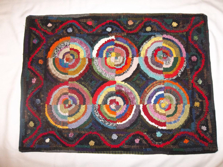 Hand hooked wool rug 21