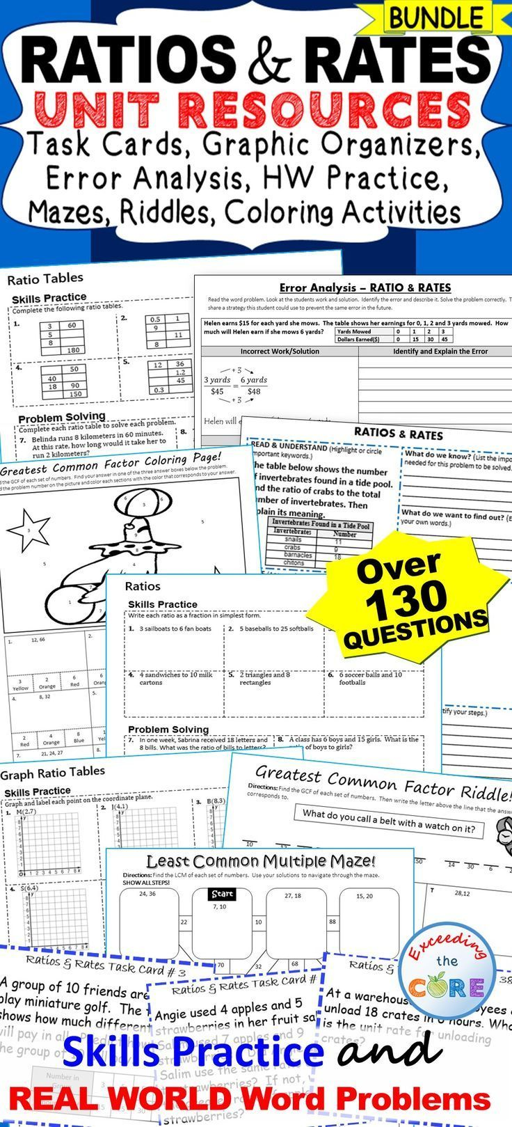 Ratios And Rates Bundle 40 Task Cards 10 Error Analysis Activities 10 Problem Solving Graphic Organizers 5 Homew Problem Solving Task Cards Error Analysis