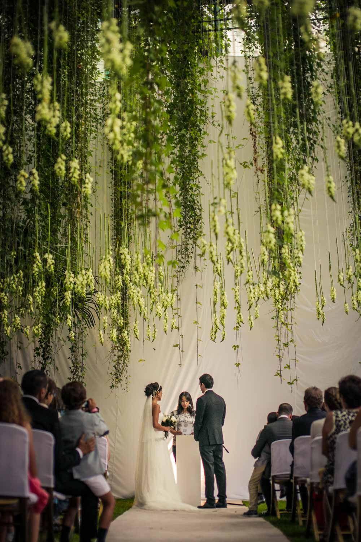 Flower canopy ceremony #flowercanopy @weddingchicks & Miami Glam Garden Wedding | Wedding Ceremony Ideas | Wedding ceiling ...