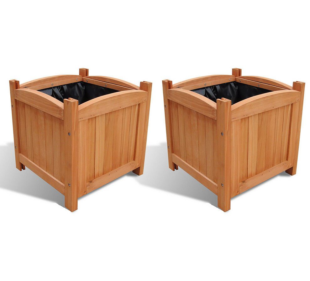 Wooden Garden Planters Outdoor Patio Square Flower Plant Pot Wood Box Set Of 2 Wooden Planters Wooden Planter Boxes Wooden Plant Pots
