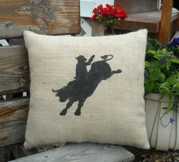 Rodeo Home Decor: Bull Riding Rodeo Burlap Pillow
