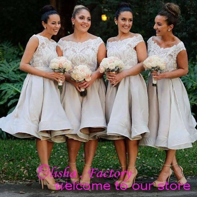 Hot Sale Lace Neck Cap Sleeves Short Bridesmaid Dresses Knee-length Formal Dresses Party Evening Aline 2015 Online with $83.73/Piece on Olisha's Store | DHgate.com