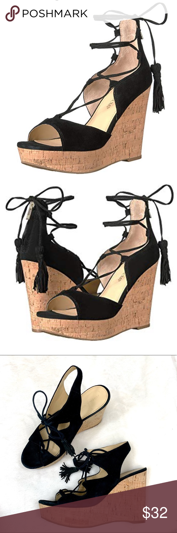 2d8602698 Ivanka Trump Black Wedge Suede Tassel Sandals Ivanka Trump Black Wedge  Suede Tassel Sandals Womens size 7.5, very good condition, no flaws.