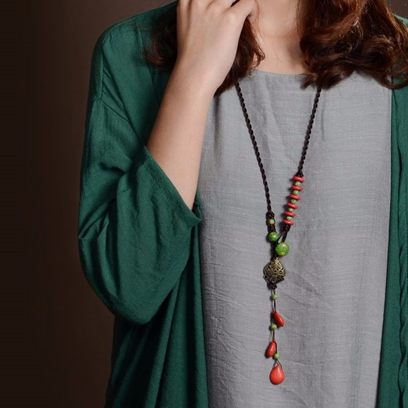 Chinese Handmade Red Turquoise Long String Necklace Jewelry at Banggood