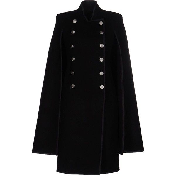 Gareth Pugh Coat (€885) found on Polyvore featuring women's fashion, outerwear, coats, black, leather-sleeve coats, double breasted coat, flannel coat and gareth pugh