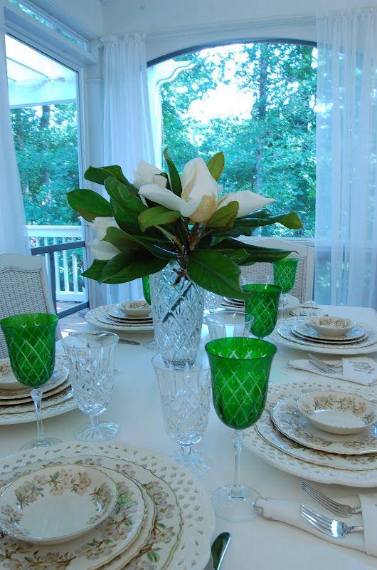 Summer Tablescape With Magnolia Centerpiece Magnolia Centerpiece Magnolia Decor Centerpieces