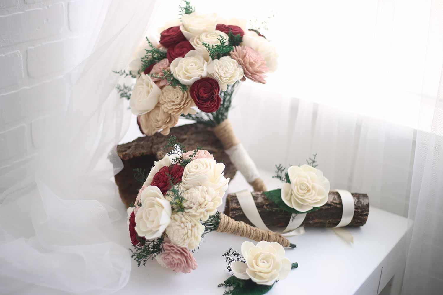 Marsala Bridal Package Wood \'flowers\' are absolutely beautiful, and ...