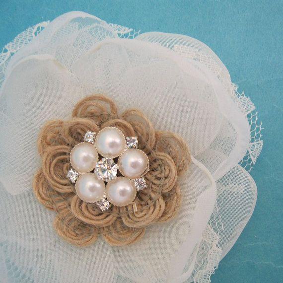 Rustic wedding Hair Flower,  Burlap, Lace and Organza Rose Hair Clip  G273, shabby chic bridal hair accessory