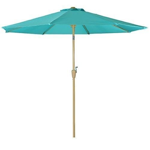 Outdoor Patio Umbrella 9 Foot Aluminum Umbrellas Tilt Crank 8Ribs Teal  Turquoise #Balichun #MarketUmbrella