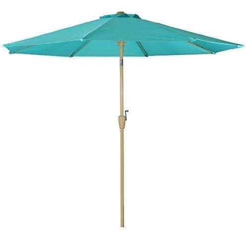 Outdoor Patio Umbrella 9 Foot Aluminum Umbrellas Tilt Crank 8Ribs Teal  Turquoise #Balichun #MarketUmbrella