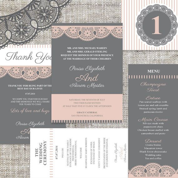 Premier Wedding Invitation All In One Templates by ImLeaf on Etsy - ms word invitation templates free download