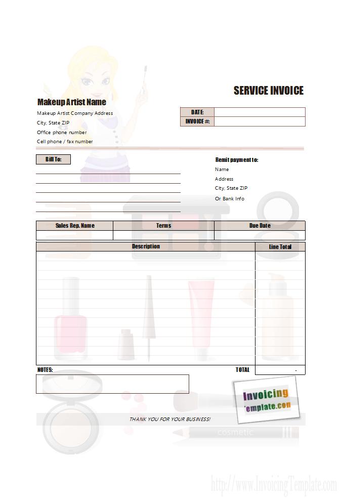 Makeup Artist Billing Form Invoice Template Freelance Makeup Freelance Makeup Artist
