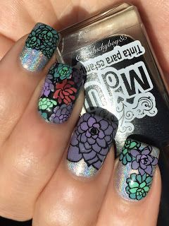 Not So Secret Lover of all Things Nails : Succulents mani using UC mini plate. How cute are these succulents and how real do they look?! #UberChicBeauty #UberChic #nails #nailaddict #nailart #nailstamps #succulents