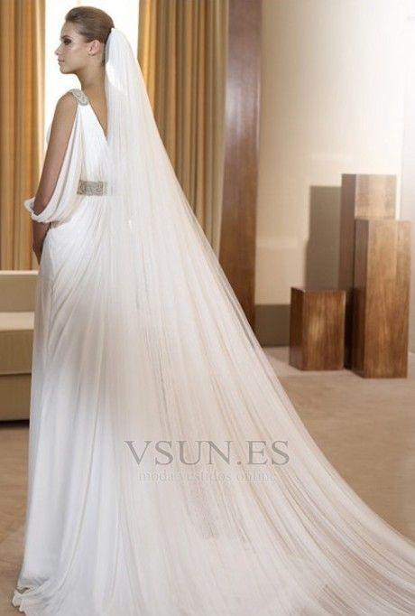 vestido+de+novia+estilo+griego+con+velo+abalorio+blanco+moderno+