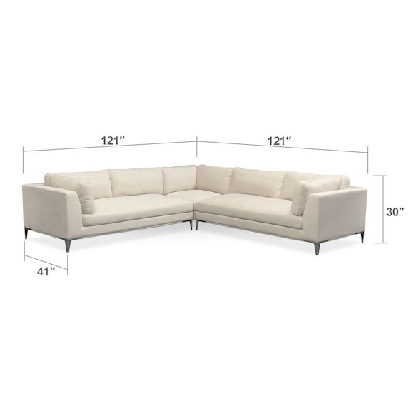Living Room Furniture Aaron 3 Piece Sectional Ivory