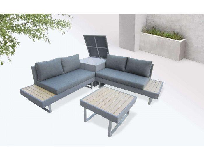 Bobochic Palma Salon De Jardin En Angle 5 Places Aluminium Composite Coffre Canape Angle Salon En Plein Air Mobilier